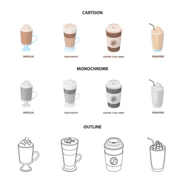 Mocha, macchiato, frappe, take coffee.Different types of coffee set collection icons in cartoon,outline,monochrome style vector symbol stock illustration web.