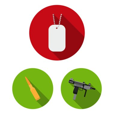 Types of weapons flat icons in set collection for design.Firearms and bladed weapons vector symbol stock web illustration.