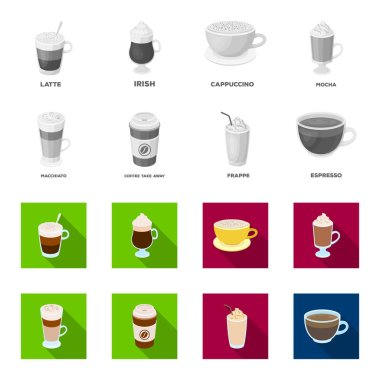 Mocha, macchiato, frappe, take coffee.Different types of coffee set collection icons in monochrome,flat style vector symbol stock illustration web.