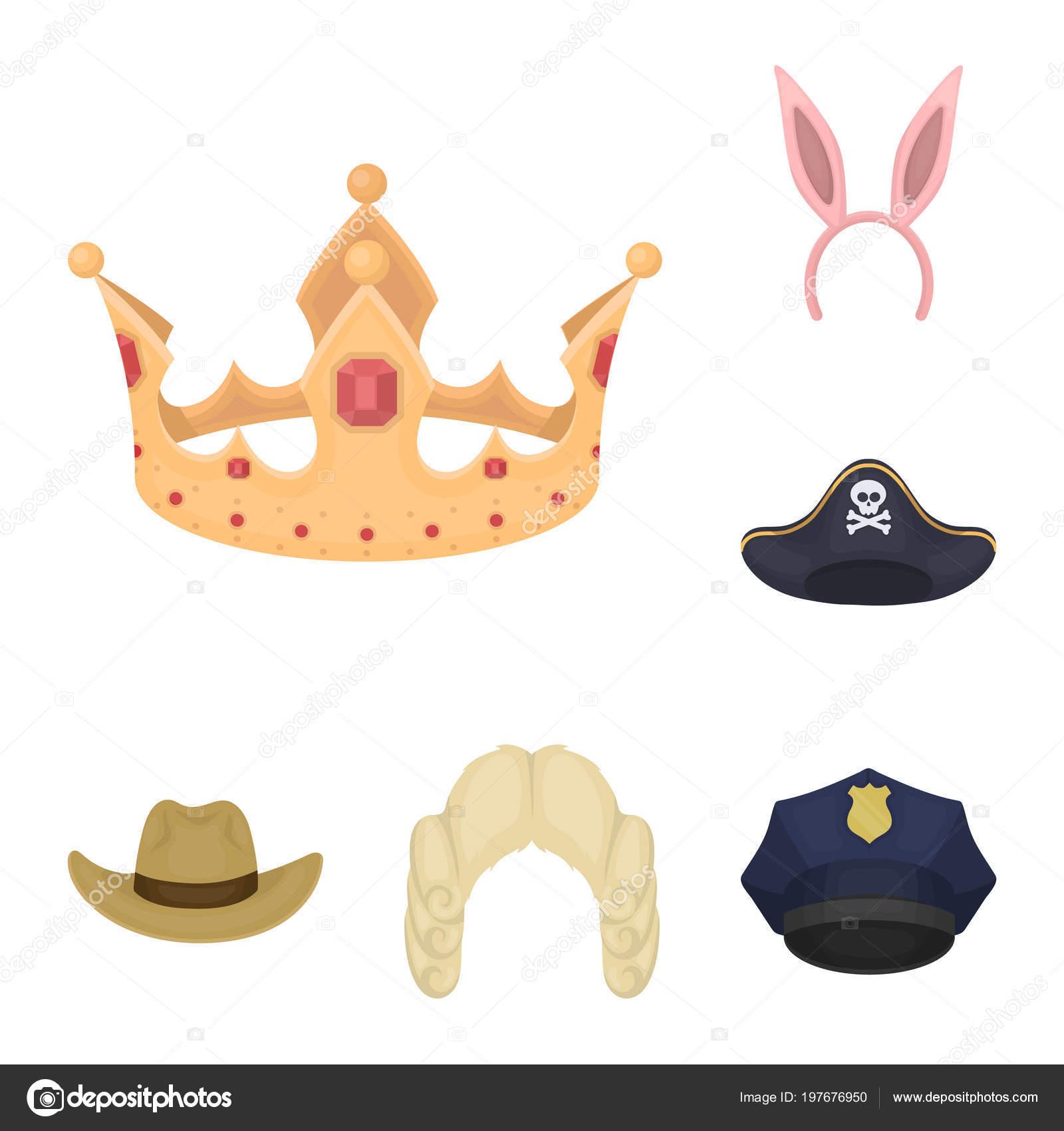 2c1c200f65bf2 Diferentes tipos de sombreros de dibujos animados iconos de colección set  de diseño. Acciones ilustración de tocado vector símbolo — Vector de  PandaVector