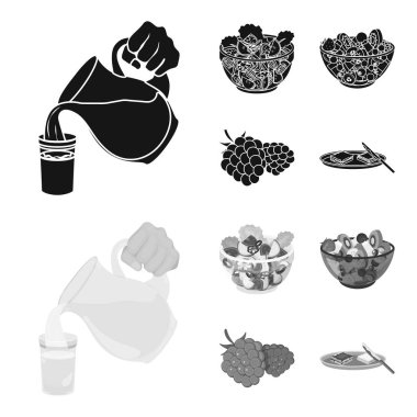 Fruit, vegetable salad and other types of food. Food set collection icons in black,monochrome style vector symbol stock illustration web.