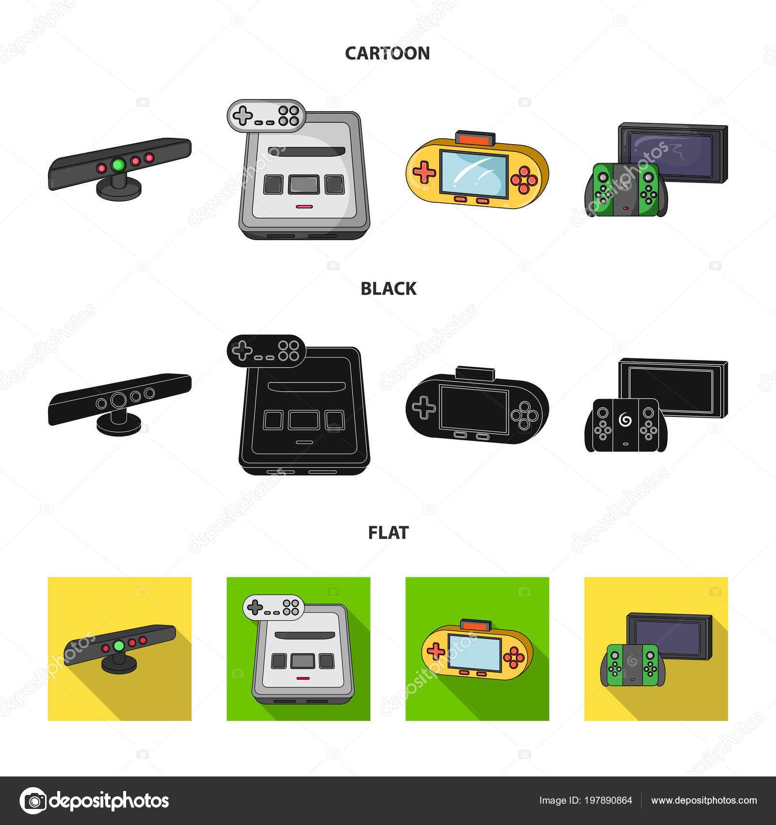 Jogo e Tv set-top-box dos desenhos animados, preto, lisos
