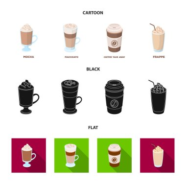 Mocha, macchiato, frappe, take coffee.Different types of coffee set collection icons in cartoon,black,flat style vector symbol stock illustration web.