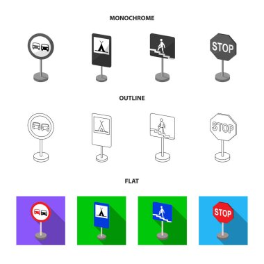 Different types of road signs flat,outline,monochrome icons in set collection for design. Warning and prohibition signs vector symbol stock web illustration.