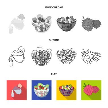 Fruit, vegetable salad and other types of food. Food set collection icons in flat,outline,monochrome style vector symbol stock illustration web.