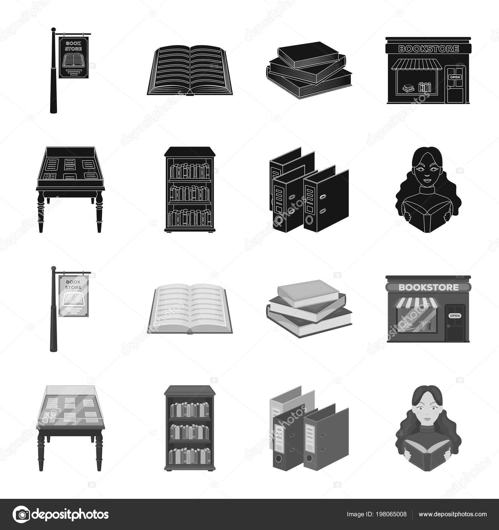 Bibliotek I Księgarni Czarny Monochromatyczne Ikony W Kolekcja