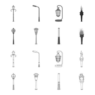 Lamppost in retro style, modern lantern, torch and other types of streetlights. Lamppost set collection icons in outline,monochrome style vector symbol stock illustration web.