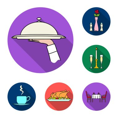 Restaurant and bar flat icons in set collection for design. Pleasure, food and alcohol vector symbol stock web illustration.