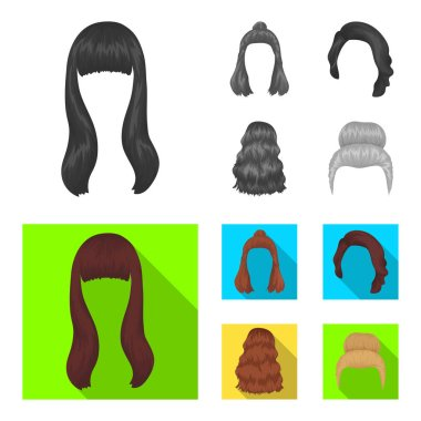 Long, red and other types of hairstyles. Back hairstyle set collection icons in monochrome,flat style vector symbol stock illustration web.