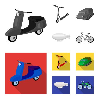 Motorcycle, scooter, armored personnel carrier, aerostat types of transport. Transport set collection icons in monochrome,flat style vector symbol stock illustration web.