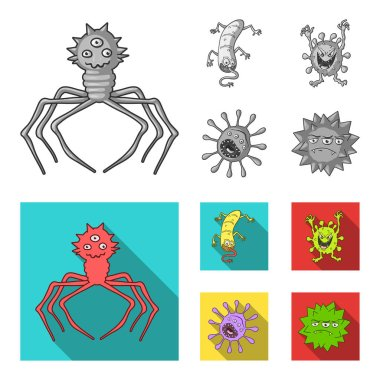 Different types of microbes and viruses. Viruses and bacteria set collection icons in monochrome,flat style vector symbol stock illustration web.