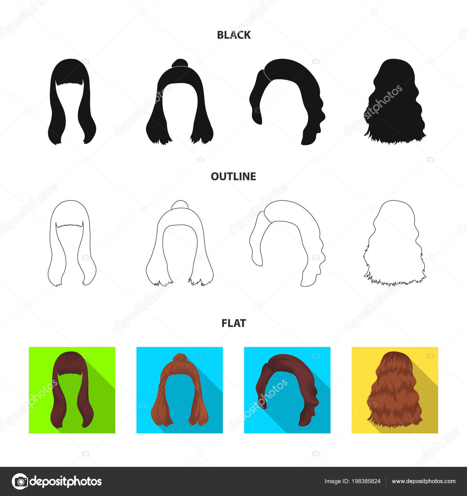 Long Red And Other Types Of Hairstyles Back Hairstyle Set