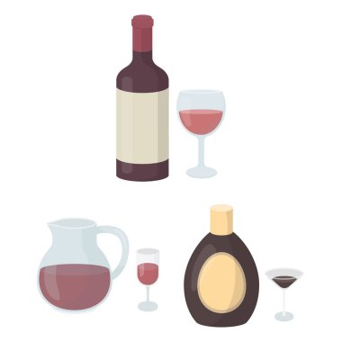 Types of alcohol cartoon icons in set collection for design. Alcohol in bottles vector symbol stock web illustration.