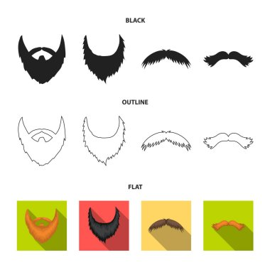 Mustache and beard, hairstyles black,flat,outline icons in set collection for design. Stylish haircut vector symbol stock web illustration.