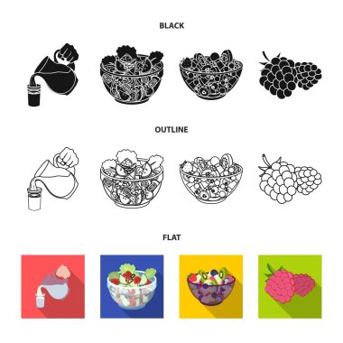 Fruit, vegetable salad and other types of food. Food set collection icons in black,flat,outline style vector symbol stock illustration web.