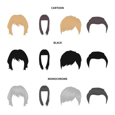 Mustache and beard, hairstyles cartoon,black,monochrome icons in set collection for design. Stylish haircut vector symbol stock web illustration.