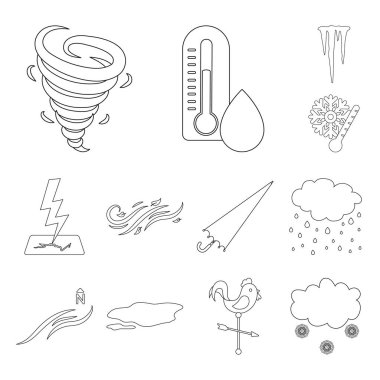 Different weather outline icons in set collection for design.Signs and characteristics of the weather vector symbol stock web illustration.