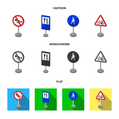 Different types of road signs cartoon,flat,monochrome icons in set collection for design. Warning and prohibition signs vector symbol stock web illustration.
