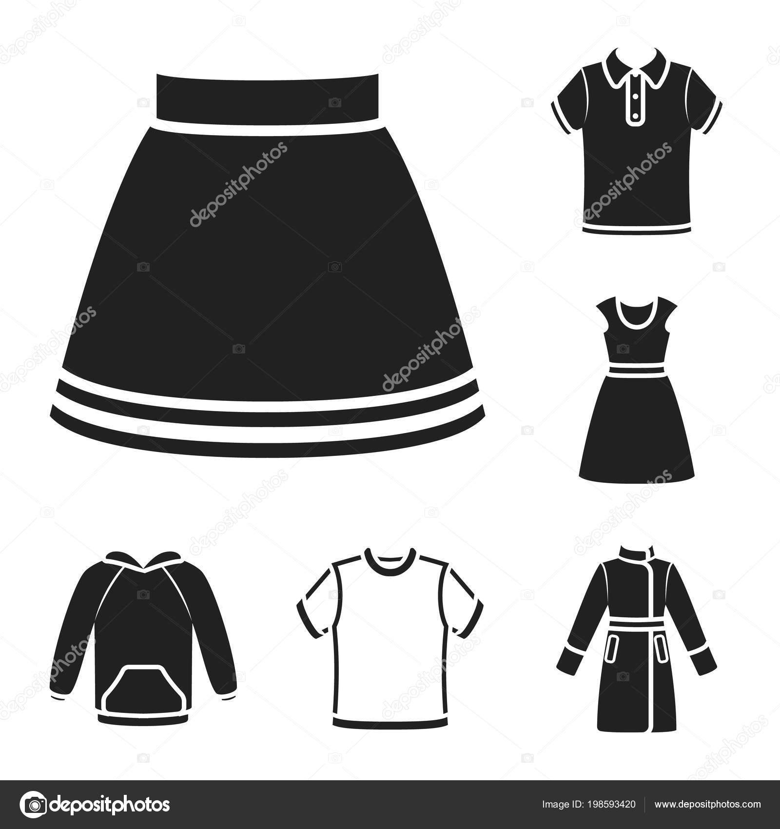Spiksplinternieuw Verschillende soorten kleding zwarte pictogrammen in set collectie GB-43