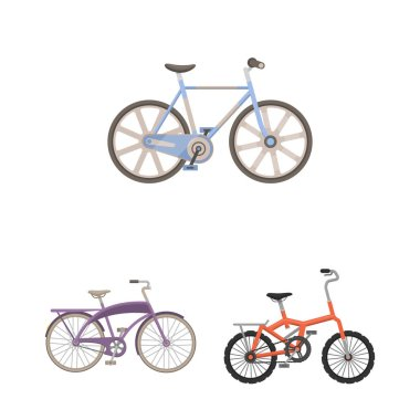 Various bicycles cartoon icons in set collection for design. The type of transport vector symbol stock web illustration.