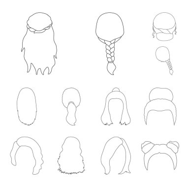 Female hairstyle outline icons in set collection for design. Stylish haircut vector symbol stock web illustration.
