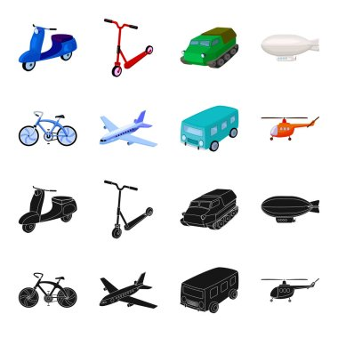 Bicycle, airplane, bus, helicopter types of transport. Transport set collection icons in black,cartoon style vector symbol stock illustration web.