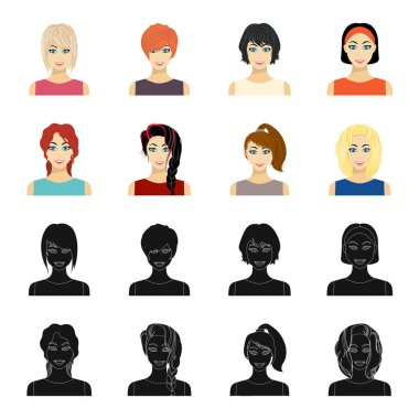 Types of female hairstyles black,cartoon icons in set collection for design. Appearance of a woman vector symbol stock web illustration.