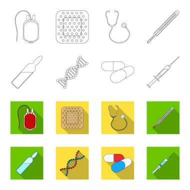 Human DNA and other equipment.Medicine set collection icons in outline,flat style vector symbol stock illustration .