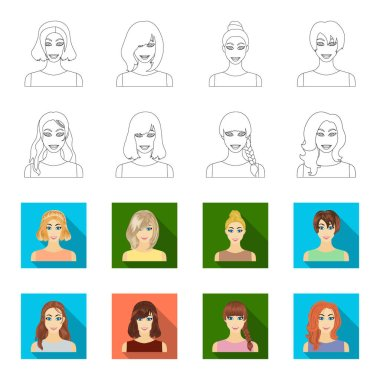 Types of female hairstyles outline,flat icons in set collection for design. Appearance of a woman vector symbol stock  illustration.