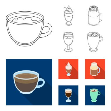 Esprecco, glase, milk shake, bicerin.Different types of coffee set collection icons in outline,flat style vector symbol stock illustration web.