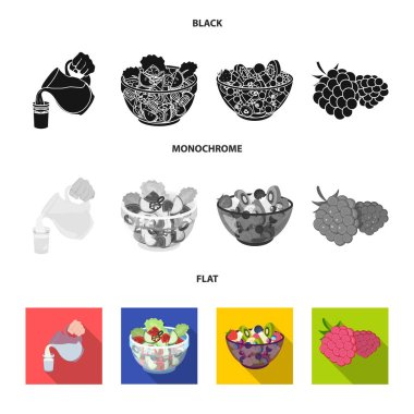Fruit, vegetable salad and other types of food. Food set collection icons in black, flat, monochrome style vector symbol stock illustration web.