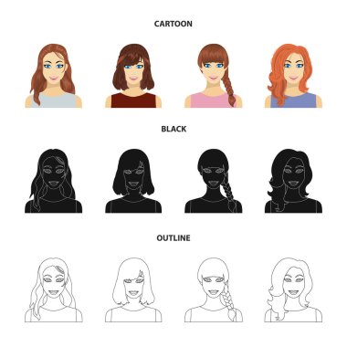 Types of female hairstyles cartoon,black,outline icons in set collection for design. Appearance of a woman vector symbol stock web illustration.