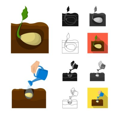 Farm and agriculture cartoon,black,flat,monochrome,outline icons in set collection for design. Garden and plants isometric vector symbol stock web illustration.