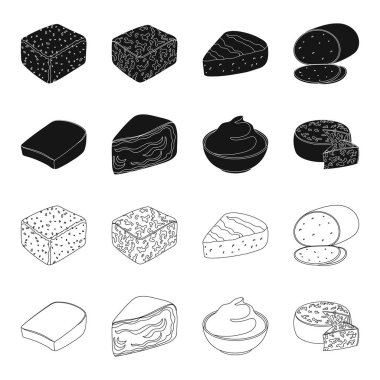 Gruyere, camembert, mascarpone, gorgonzola.Different types of cheese set collection icons in black,outline style vector symbol stock illustration web.