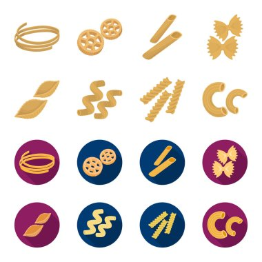 Different types of pasta. Types of pasta set collection icons in cartoon,flat style vector symbol stock illustration web.