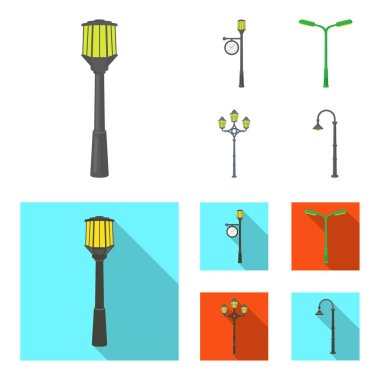 Lamppost in retro style,modern lantern, torch and other types of streetlights. Lamppost set collection icons in cartoon,flat style vector symbol stock illustration web.