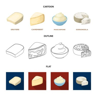 Gruyere, camembert, mascarpone, gorgonzola.Different types of cheese set collection icons in cartoon,outline,flat style vector symbol stock illustration web.