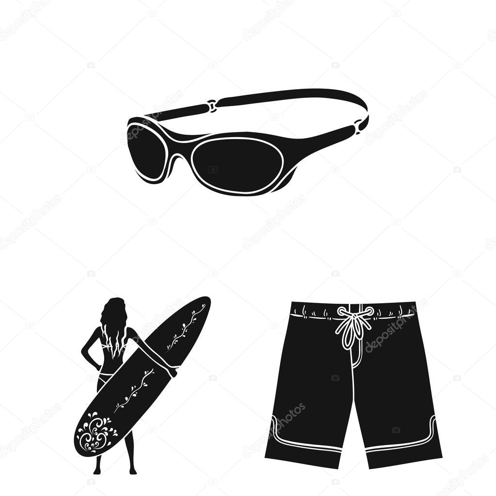 Surfing and extreme black icons in set collection for design. Surfer and accessories vector symbol stock web illustration.