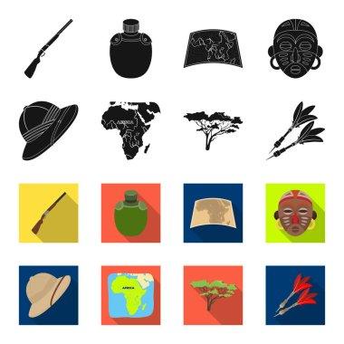 Cork hat, darts, savannah tree, territory map. African safari set collection icons in black,flet style vector symbol stock illustration web.