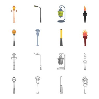 Lamppost in retro style, modern lantern, torch and other types of streetlights. Lamppost set collection icons in cartoon,outline style vector symbol stock illustration web.