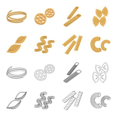 Different types of pasta. Types of pasta set collection icons in cartoon,outline style vector symbol stock illustration web.