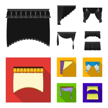Different types of window curtains.Curtains set collection icons in black, flat style vector symbol stock illustration web.