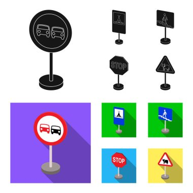Different types of road signs black, flat icons in set collection for design. Warning and prohibition signs vector symbol stock web illustration.
