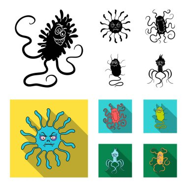 Different types of microbes and viruses. Viruses and bacteria set collection icons in black, flat style vector symbol stock illustration web.