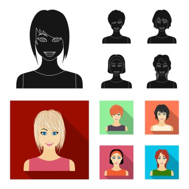 Types of female hairstyles black,flat icons in set collection for design. Appearance of a woman vector symbol stock web illustration.