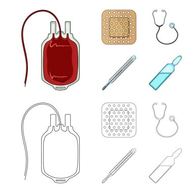Package with donor blood and other equipment.Medicine set collection icons in cartoon,outline style vector symbol stock illustration web.