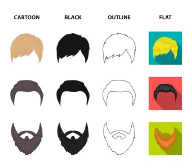 Mustache and beard, hairstyles cartoon,black,outline,flat icons in set collection for design. Stylish haircut vector symbol stock web illustration.