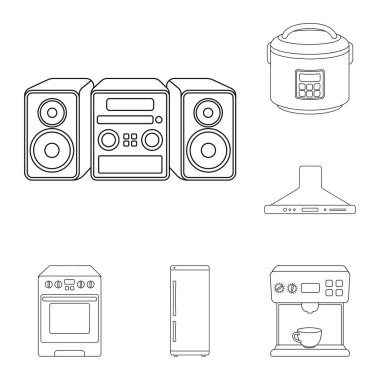 Types of household appliances outline icons in set collection for design.Kitchen equipment vector symbol stock web illustration.
