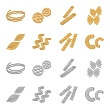 Different types of pasta. Types of pasta set collection icons in cartoon,monochrome style vector symbol stock illustration web.