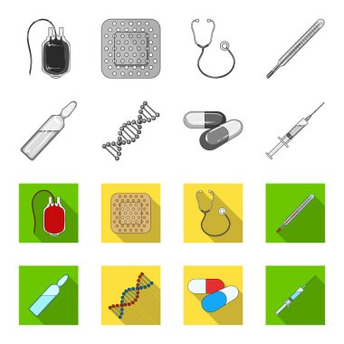Human DNA and other equipment.Medicine set collection icons in monochrome,flat style vector symbol stock illustration web.